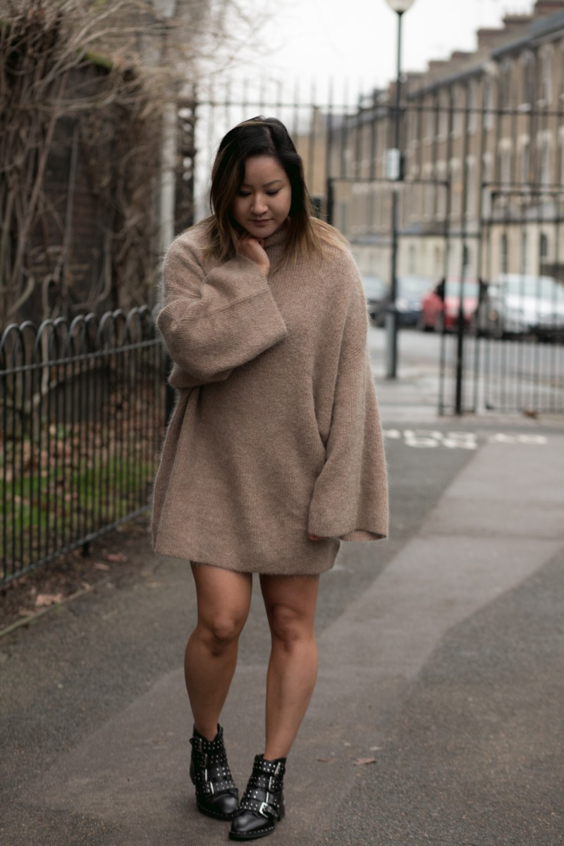 h&m camel jumper dress