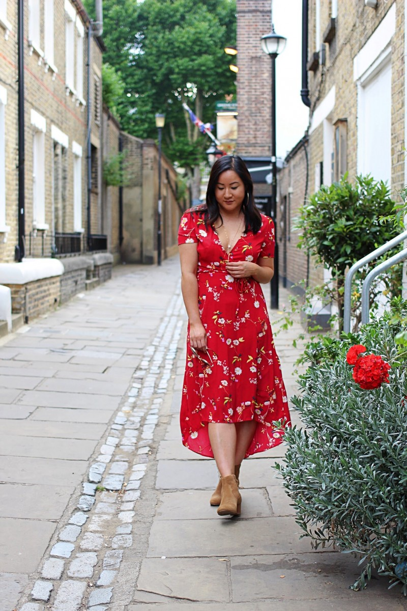 new look red floral dress