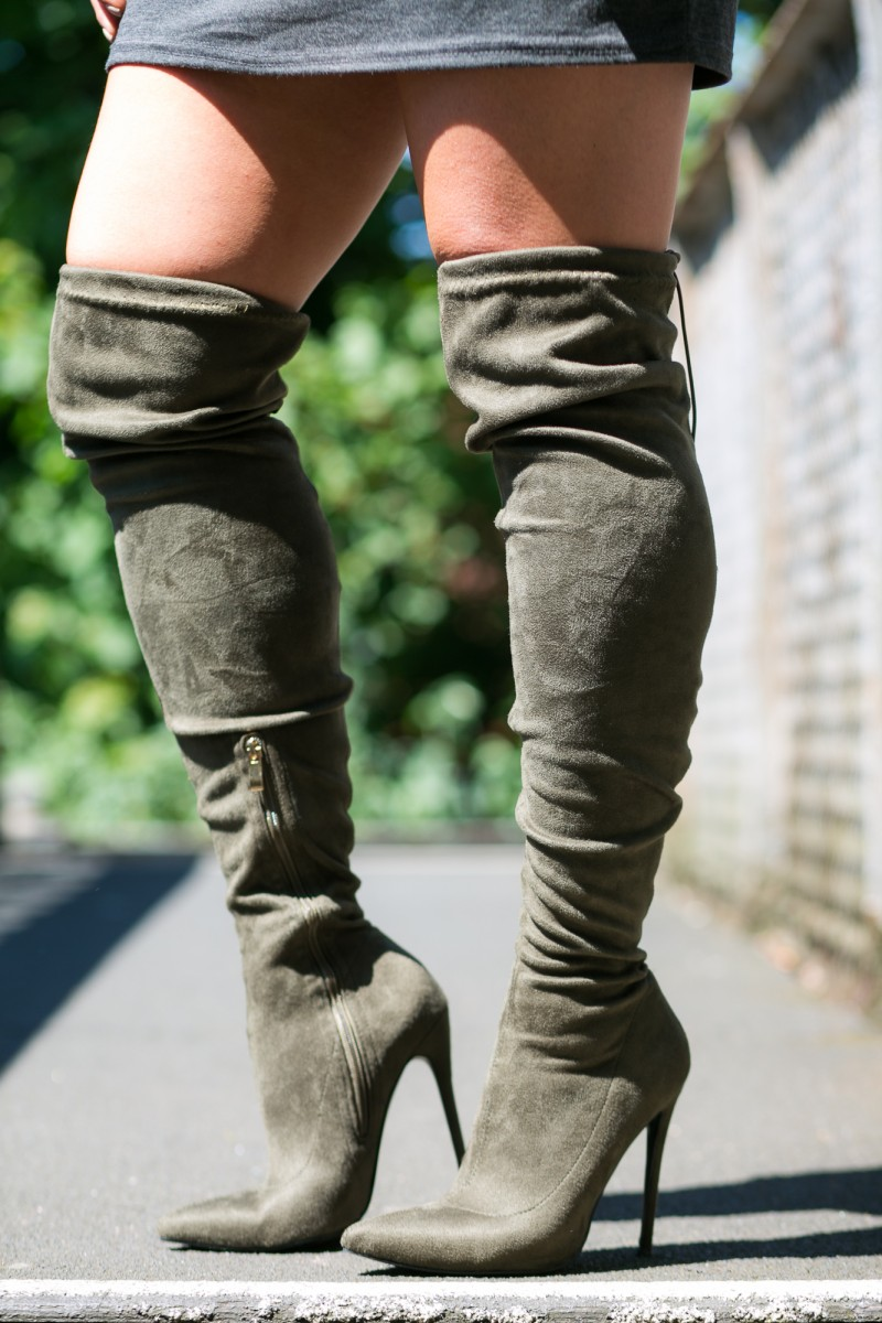 over the knee khaki boots