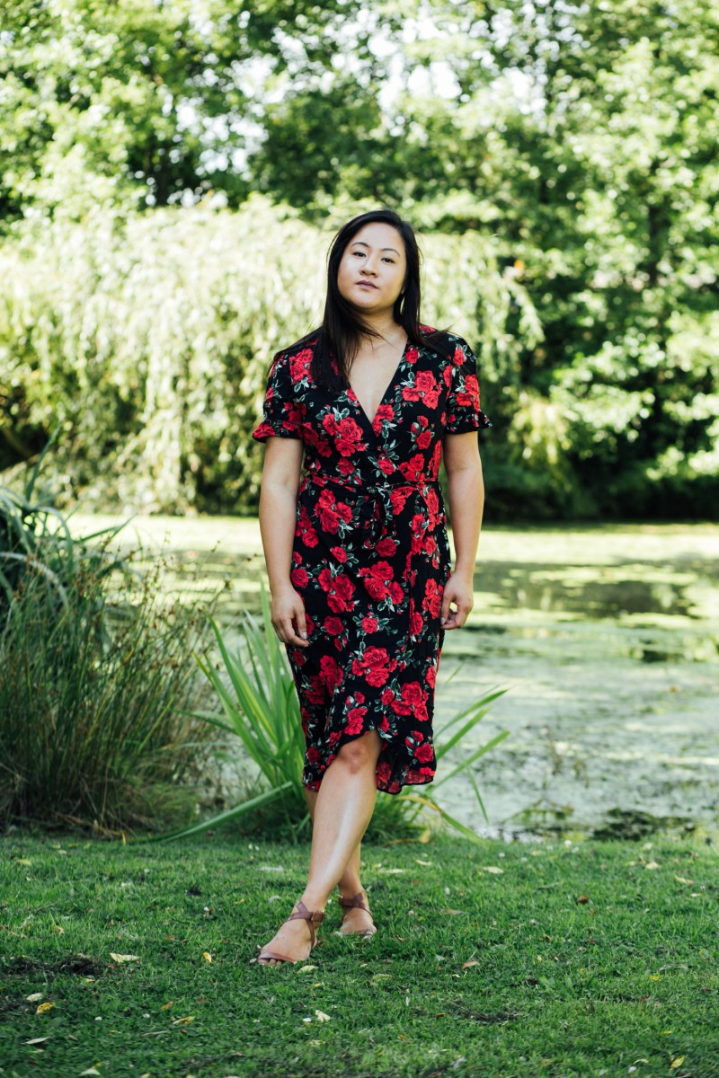 how to wear a floral midi dress