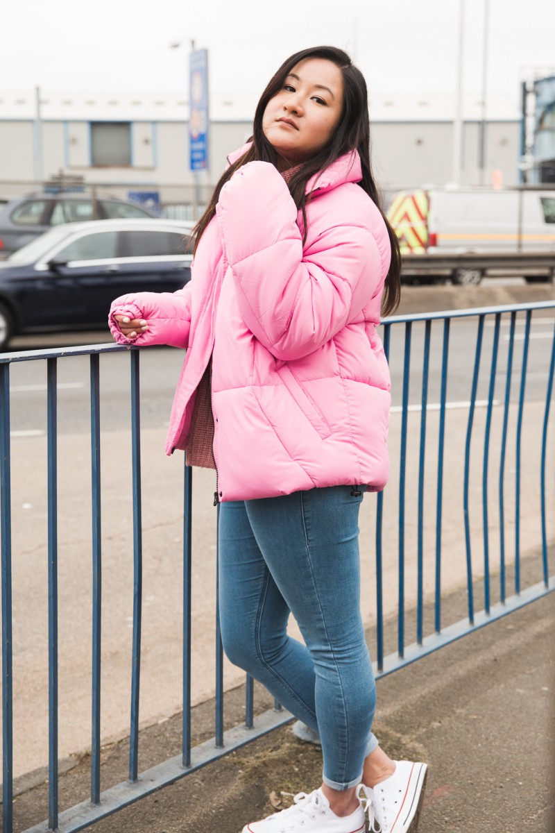 babes of missguided pink coat